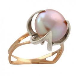 Необычное золотое женское кольцо с жемчугом 100860