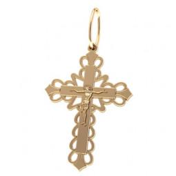 Золотой ажурный золотой крест с распятием 5023