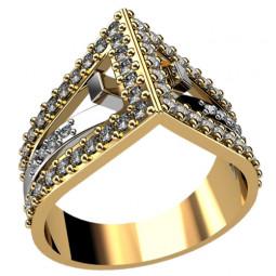 Женское золотое многокаменное кольцо необычной формы 1258