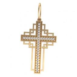 Декоративный крест из красного золота с дорожкой камней 5028