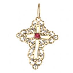 Ажурный золотой крест с красным круглым камнем в центре 5030