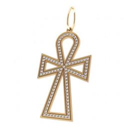 Декоративный крест из красного золота с дорожкой белых камней 5033