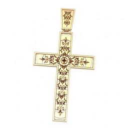 Золотой прямоугольный крест без распятия с узорами 5034