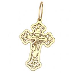 Золотой крест с сеточкой и распятием 5036