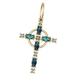 Женский золотой крест с камнями разной огранки 5037