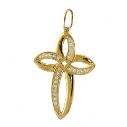 Женский крест из красного золота с дорожками камней 5038