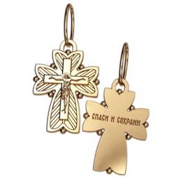 Небольшой нательный крест из красного золота с распятием 5045