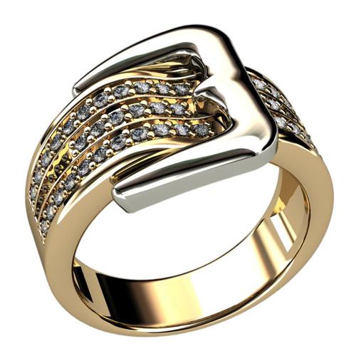 Золотое кольцо ремешок с камнями 1260