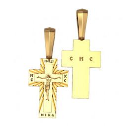 Золотой прямоугольный крест с глянцевой поверхностью 5057