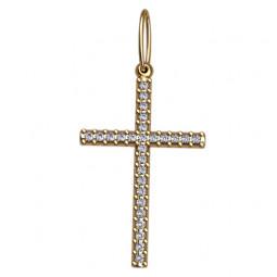 Женский многокаменный золотой крестик 5059