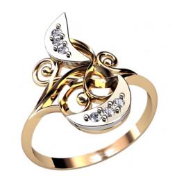 Золотое кольцо с узорами и вставками из белого золота 1263