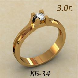 Оригинальное помолвочное кольцо из красного золота кб-120034