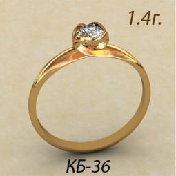Авторское помолвочное кольцо из красного золота кб-290036