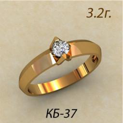 Золотое помолвочное кольцо с белым фианитом кб-430037