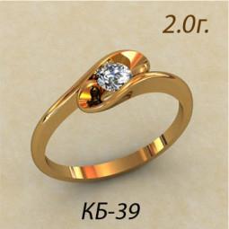 Золотое женское кольцо с маленьким белым фианитом кб-380039