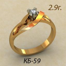 Дизайнерское помолвочное кольцо из красного золота кб-370059