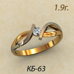 Авторское кольцо для помолвки из комбинированного золота кб-380063