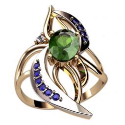 Женское кольцо со вставками из белого золота и камнями 1277