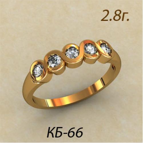 Женское золотое кольцо с пятью круглыми фианитами 120066
