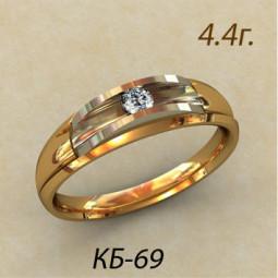 Дизайнерское женское золотое кольцо с небольшим камнем кб-190069
