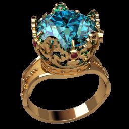 Массивное золотое кольцо с крупным голубым фианитом 3168