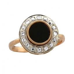 Золотое кольцо с эмалью и фианитами 100870