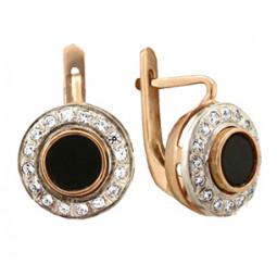 Золотые серьги с ювелирной эмалью и фианитами 100875