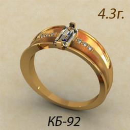 Золотое кольцо из золота с камнями разной огранки кб-620092