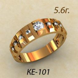 Кольцо из красного золота с камнями рельсовой закрепки ке-101