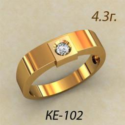 Мужское золотое кольцо с одним небольшим фианитом ке-102