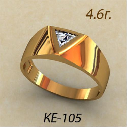 Мужская золотая печатка с белым небольшим камнем ке-105