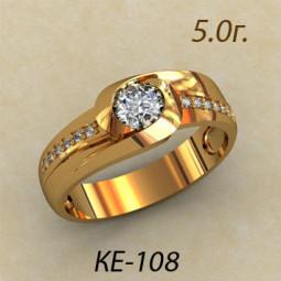 Широкое кольцо с крупным фианитом в центре и маленькими камнями по бокам ке-108