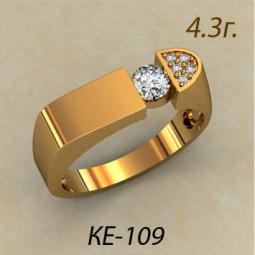 Золотая мужская небольшая печатка с фианитами ке-109
