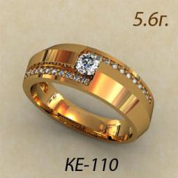 Золотое мужское кольцо с дорожками белых фианитов ке-110