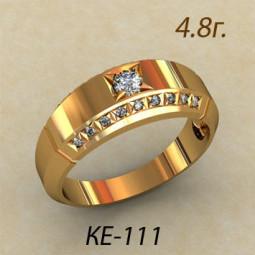Мужское золотое кольцо с белыми камнями разного размера ке-111