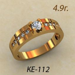 Женское золотое кольцо с дорожками белых камней ке-6900112