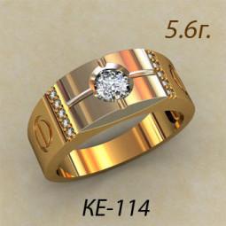 Золотое мужское кольцо из комбинированного золота и крупным камнем ке-114