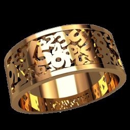 Золотое широкое кольцо с цифрами 3169