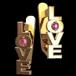 Золотые серьги LOVE с мелкими розовыми фианитами 4489