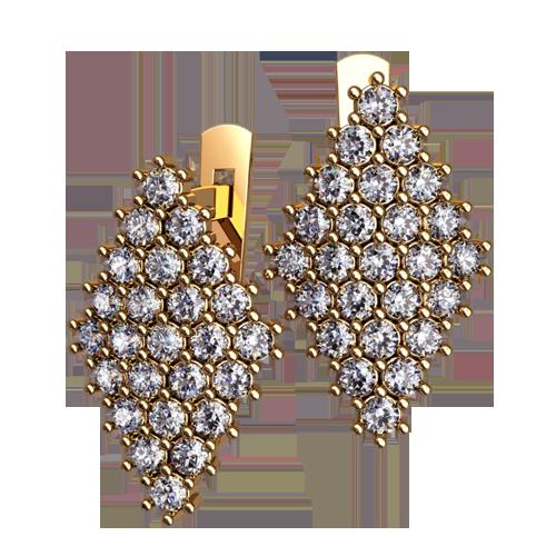 Золотые многокаменные женские серьги ромбовидной формы 4530