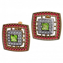 Золотые серьги квадратной формы с дорожками разноцветных фианитов 4539