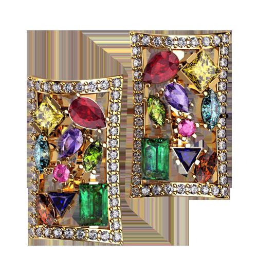 Золотые серьги с разноцветными камнями разного размера и огранки 4548