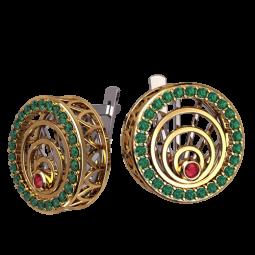 Женские золотые серьги круглой формы с дорожками зеленых фианитов 4559