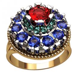 Массивное золотое кольцо с крупными камнями разного диаметра 1302