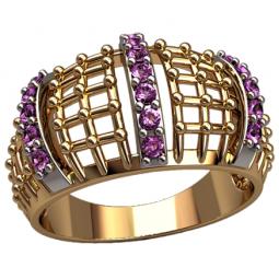 Женское широкое золотое кольцо сеточка с накладками белого цвета 1305