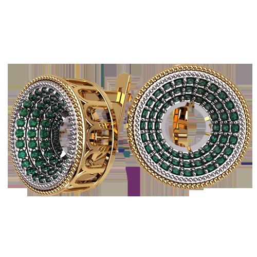 Эксклюзивные золотые серьги с зелеными камнями 4624