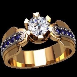 Золотое кольцо с крупным фианитом в центре и мелкими дорожками по бокам 1309