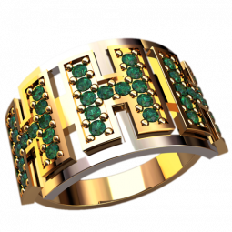 Золотое женское кольцо с дорожками камней 1310