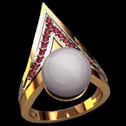 Женское массивное кольцо с крупной жемчужиной 1311