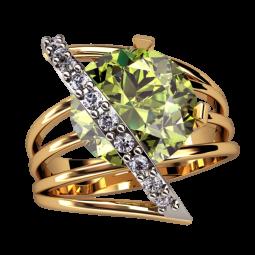 Золотое женское кольцо с дорожкой мелких камней и крупным цирконием 1312